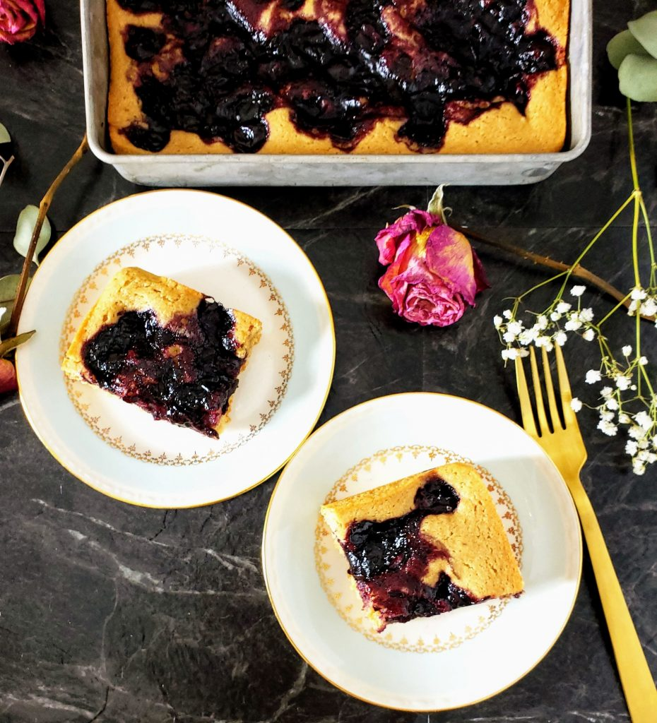 two slices of healthy cherry pie cake on plates