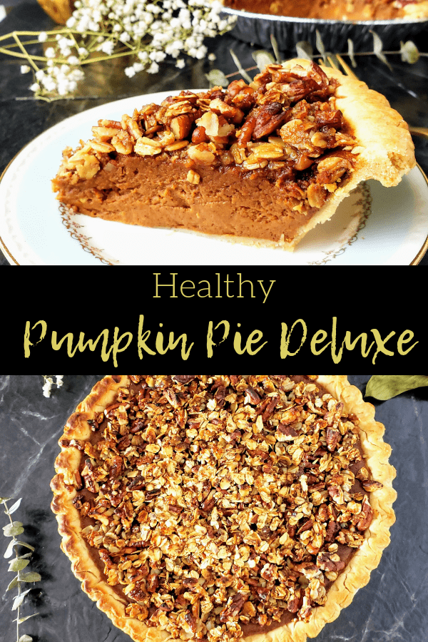 Healthy pumpkin pie deluxe is a refined sugar free pumpkin pie that's topped with a crunchy oat/pecan topping that will have you going back for seconds. Perfect for Thanksgiving or Christmas dessert. #thanksgivingdessert #pumpkinpie #healthypie #refinedsugarfreepie #homemadepumpkinpie #christmaspie #christmasdessert #easythanksgivingdessert #easychristmasdessert