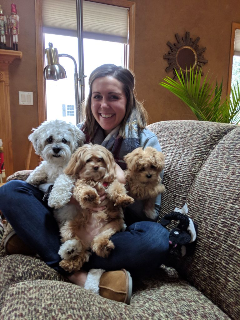 me and the three dogs in my lap