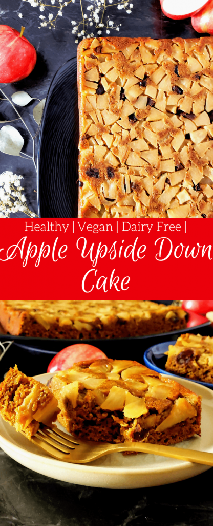Healthy apple upside down cake is a simple dessert made with fresh apples, dates and is refined sugar free. This cake can be made vegan as well by using flax eggs. Try this healthy cake for your upcoming Thanksgiving dinner. #healthycake #easydessert #easydessertrecipe #vegancake #vegandessert