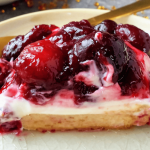 close-up of healthy cherry cheesecake slice