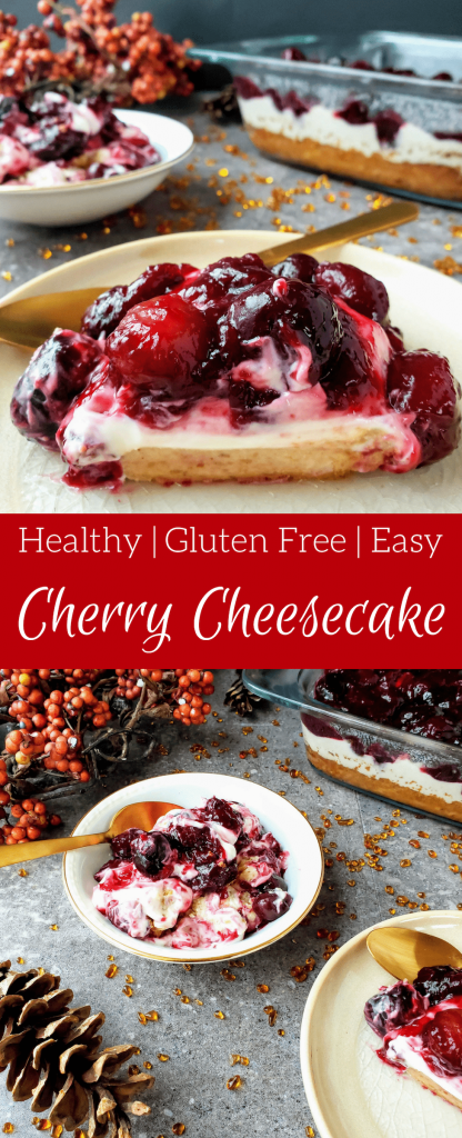 Healthy cherry cheesecake is a super simple holiday dessert to throw together. If you're looking for a last minute Thanksgiving or Christmas dessert, this one is for you. This gluten free cheesecake is healthy and topped with a delicious homemade cherry pie filling. #cherrypie #cheesecake #cherrycheesecake #thanksgivingdessert #christmasdessert #homemade #norefinedsugar
