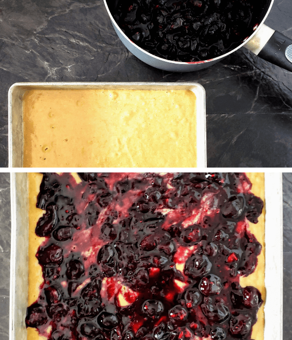 healthy cherry pie cake in a pan with cherry pie filling in a saucepan (top picture). Cherry pie filling spread over the cake (bottom picture)
