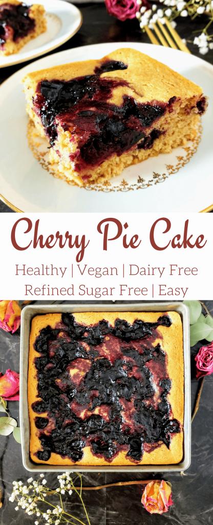 Healthy cherry pie cake is a one bowl cake that's moist and sweet. This vegan cake is super easy to make and made with no refined sugar. Perfect for a quick and easy Thanksgiving dessert. #thanksgiving #thanksgivingdessert #cake #cherrypie #healthycake #vegancake #vegandesserts