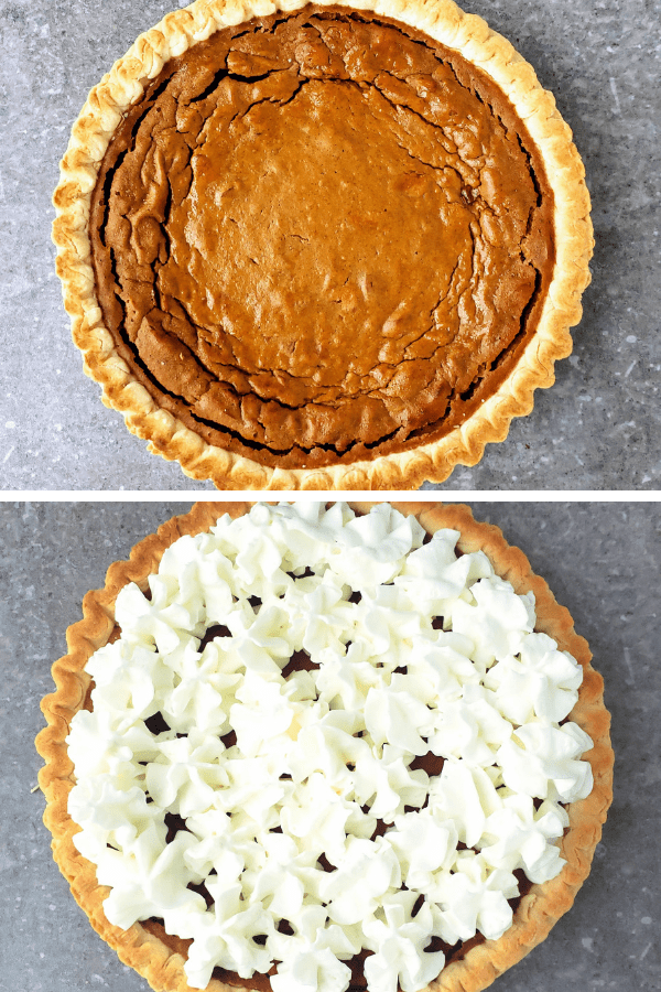 plain sweet potato pie {top}, whip cream topped sweet potato pie {bottom}