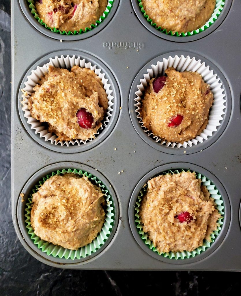 healthy cranberry orange muffins before baking