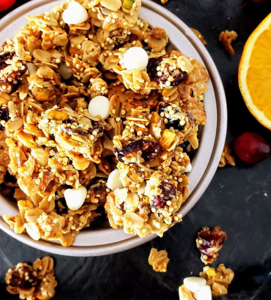 up close of healthy cranberry orange pistachio granola