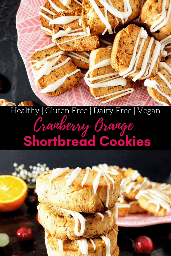 Healthy cranberry orange shortbread cookies are vegan, gluten free and dairy free. This easy recipe is perfect for the holidays. Check out these Christmas cookies. #healthycookies #vegancookies #glutenfreecookies #dairyfreecookies #christmascookies