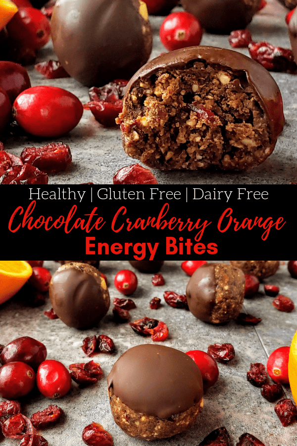 Chocolate cranberry orange energy bites are the perfect pre-workout or post workout snack. Full of healthy fats and rich dark chocolate, make these bites in just 15 minutes! #christmasdessert #truffles #christmastruffle #energybites #energyballs #proteinbites #proteinballs #chocolate