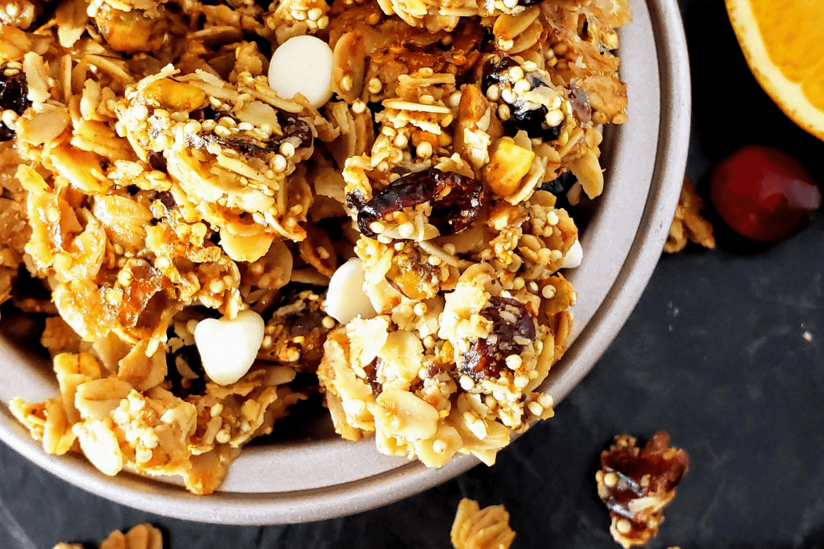 up close photo of healthy cranberry orange pistachio granola