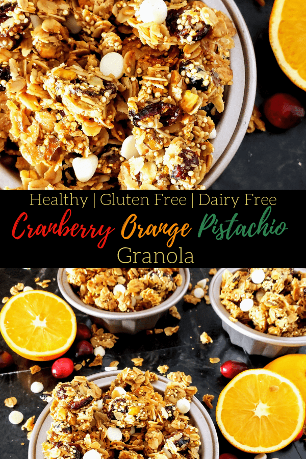 Ready for an easy and healthy and gluten free Christmas morning breakfast? Check out this healthy cranberry orange pistachio granola that's full of good-for-you foods and takes less than 30 minutes to make! #christmasbreakfast #homemadegranola #granola #healthygranola #easybreakfastrecipe #christmas #crunchygranola