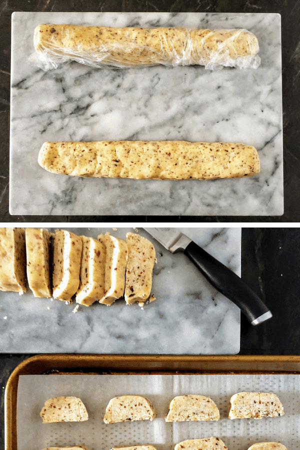top: two logs of cranberry orange shortbread. Bottom: one long sliced and slices on a baking sheet