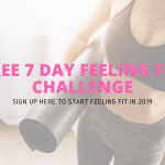 woman holding a yoga mat with the words free 7 day feeling fit challenge written over the top