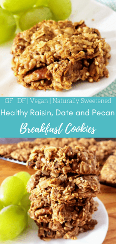 These easy, gluten free healthy breakfast cookies are packed full of good-for-you ingredients. They're soft and crunchy at the same time. They're also dairy free, vegan and refined sugar free. If you're looking for an easy healthy breakfast recipe, this is the one for you! #healthybreakfast #breakfastrecipe #breakfastcookies #dairyfreecookies #glutenfreebreakfast #glutenfreecookies #veganbreakfast #vegancookies #refinedsugarfree