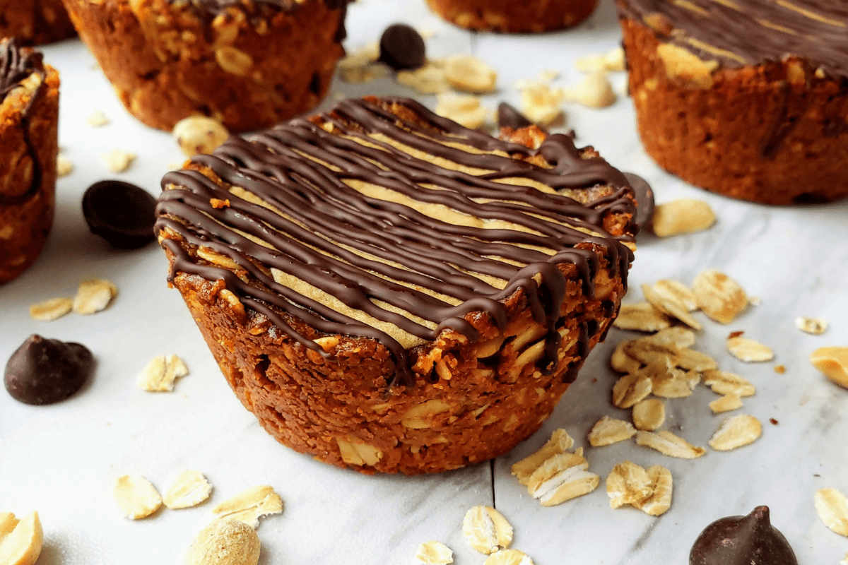 up close of healthy peanut butter granola cup