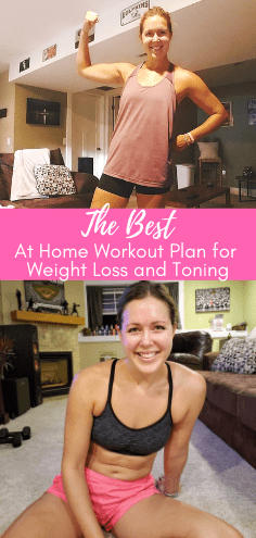 Try this simple at home workout plan that is guaranteed to help you lose weight and tone your muscles. Burn fat at home while enjoying quick 30 minute workouts that help tone and tighten your muscles. #toningmuscles #athomeworkout #athomefitness #athomeworkoutplan #weightlossforwomen #weightloss #healthyweightloss