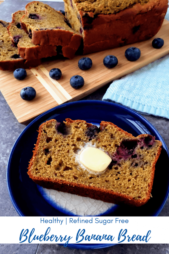 This healthy, refined sugar free, butter free blueberry banana bread is moist, fluffy and a perfectly sweet way to enjoy a healthy breakfast. #bananabreadrecipe #bananabread #blueberrybananabread #healthybananabread #butterfreebananabread