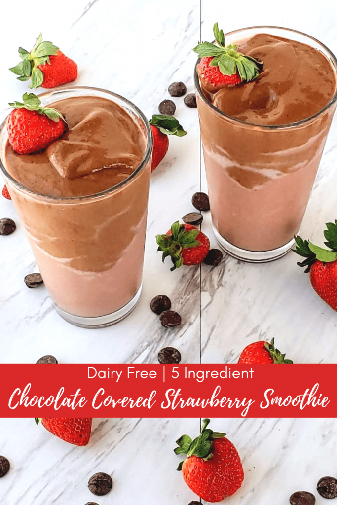 try this healthy chocolate covered strawberry smoothie for a simple 5-ingredient dairy free breakfast. Whip up this healthy shake in your blender in the morning, or the night before for an easy on-the-go breakfast to keep you full all morning long. #chocolatecoveredstrawberry #healthybreakfast #healthysmoothie #healthyshake #smoothierecipe #dairyfreesmoothie #dairyfree #dairyfreebreakfast #dairyfreerecipe