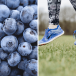 left photo: up close of blueberries. right photo - feet jumping in the air over grass