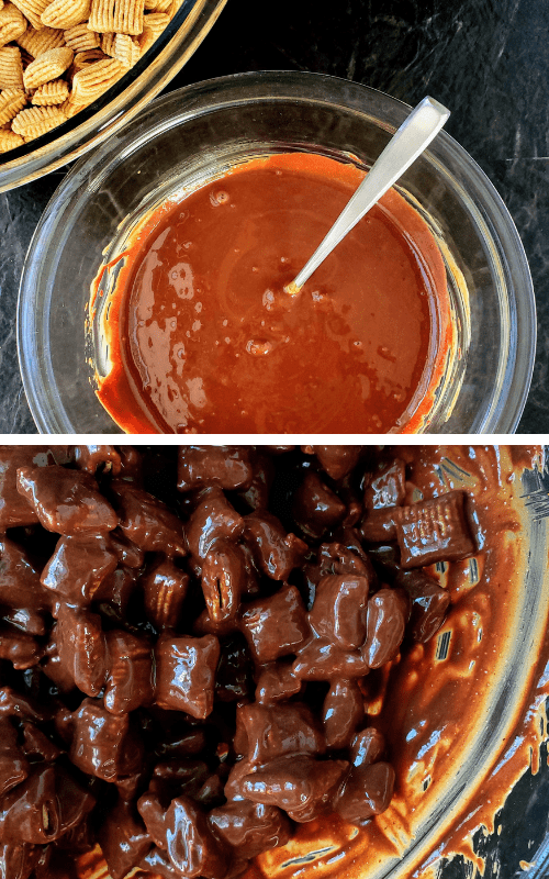 top - melted chocolate and peanut butter in a bowl. bottom - melted chocolate and peanut butter poured over ceral