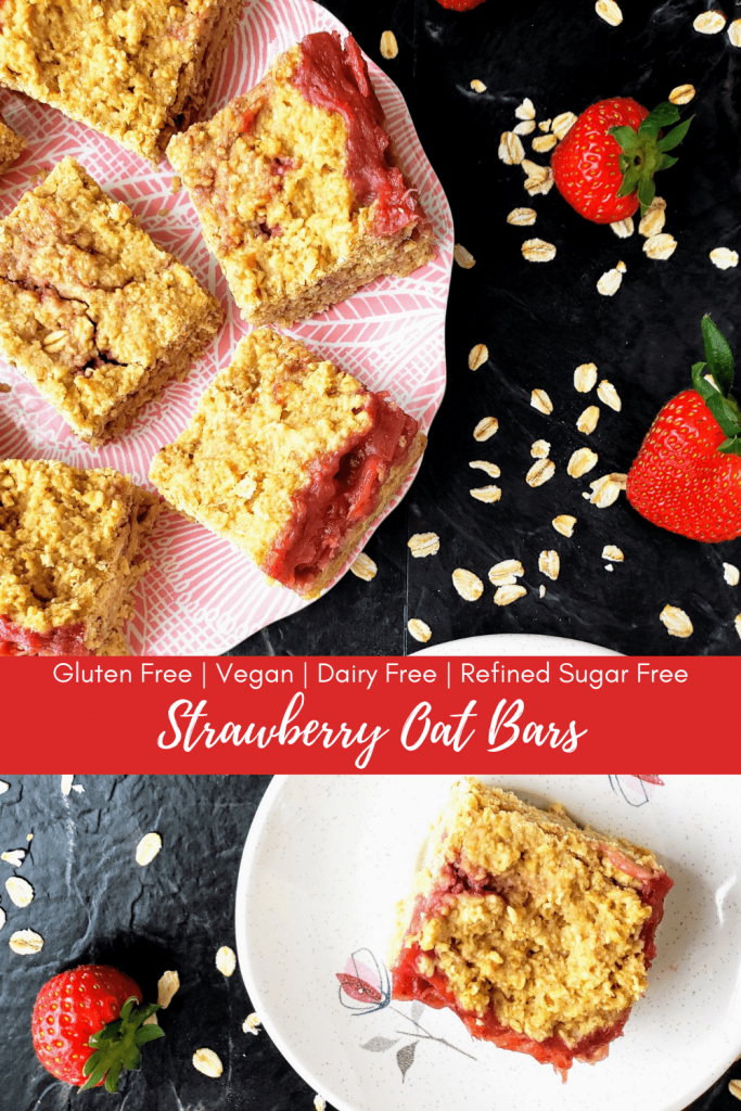 These gluten free, vegan, dairy free, healthy and easy strawberry oatmeal breakfast bars are the perfect on-the-go breakfast. Enjoy a healthy breakfast that's refined sugar free. #healthybreakfast #strawberryoatbars #strawberryoatmealbars #oatmealbars #easybreakfastrecipes #breakfastonthego #veganbreakfast #glutenfreebreakfast #dairyfreebreakfast