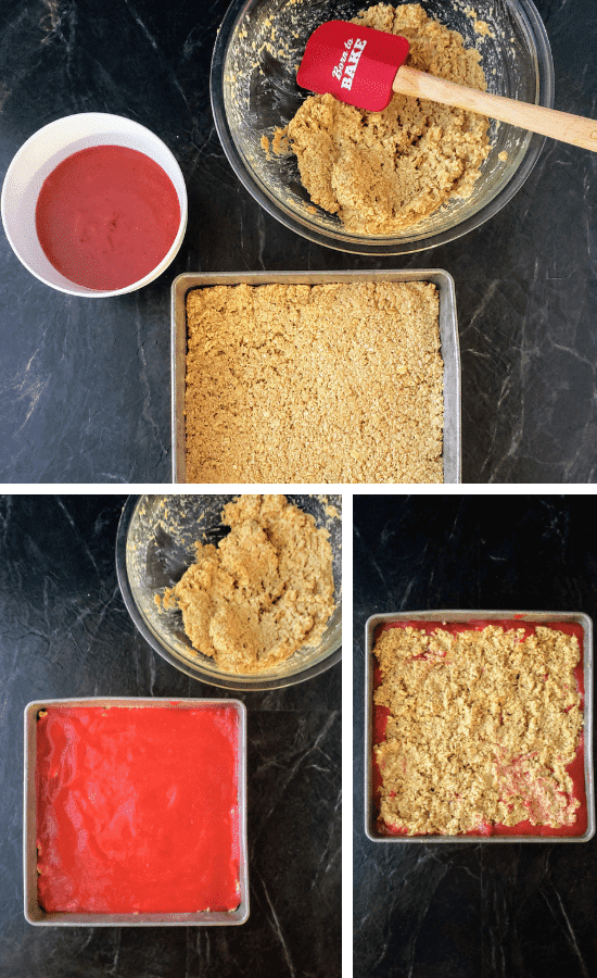 how to make strawberry oat bars: top- half oats pressed in pan, strawberry sauce and oats in bowl. Right- strawberry sauce poured on top, oats in bowl. Left - assembled strawberry oat bars