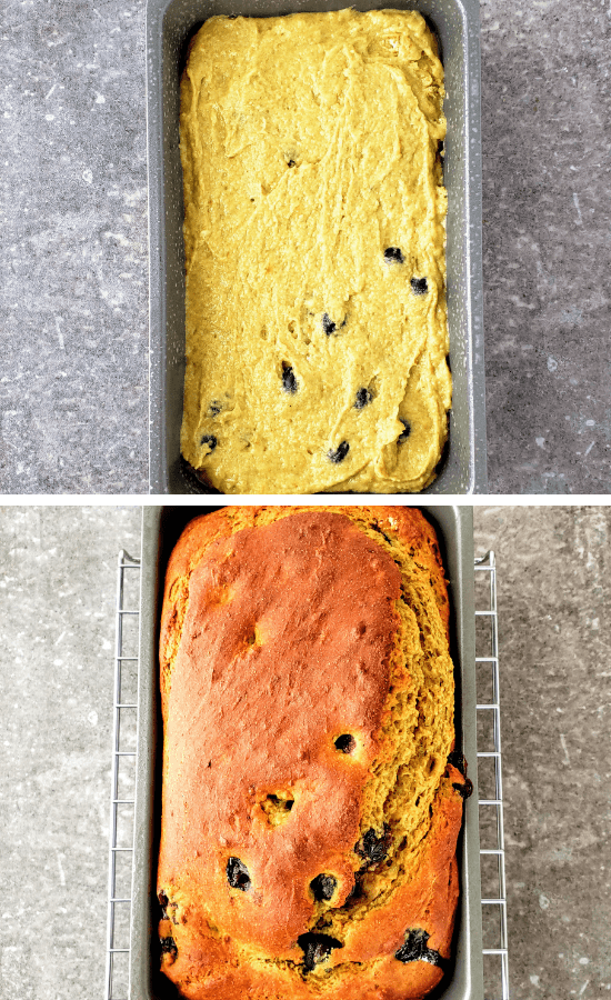 blueberry banana bread batter in a loaf pan (top). baked blueberry banana bread in a loaf pan (bottom)