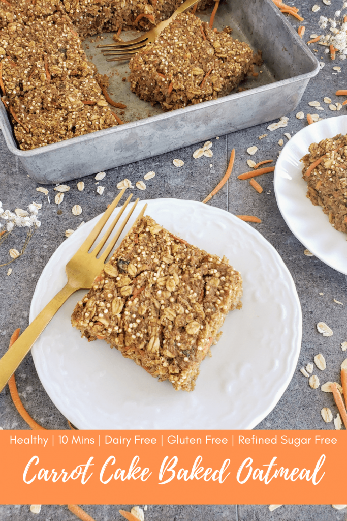 Try this healthy carrot cake baked oatmeal recipe for an easy breakfast that's dairy free, gluten free and refined sugar free. #healthybreakfastrecipe #carrotcake #bakedoatmeal #carrotcakebakedoatmeal #easyrecipe #10minuterecipe #healthycarrotcake
