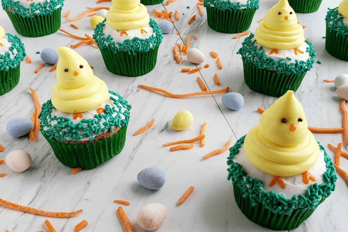Carrot cake cupcakes with Easter chicks on top