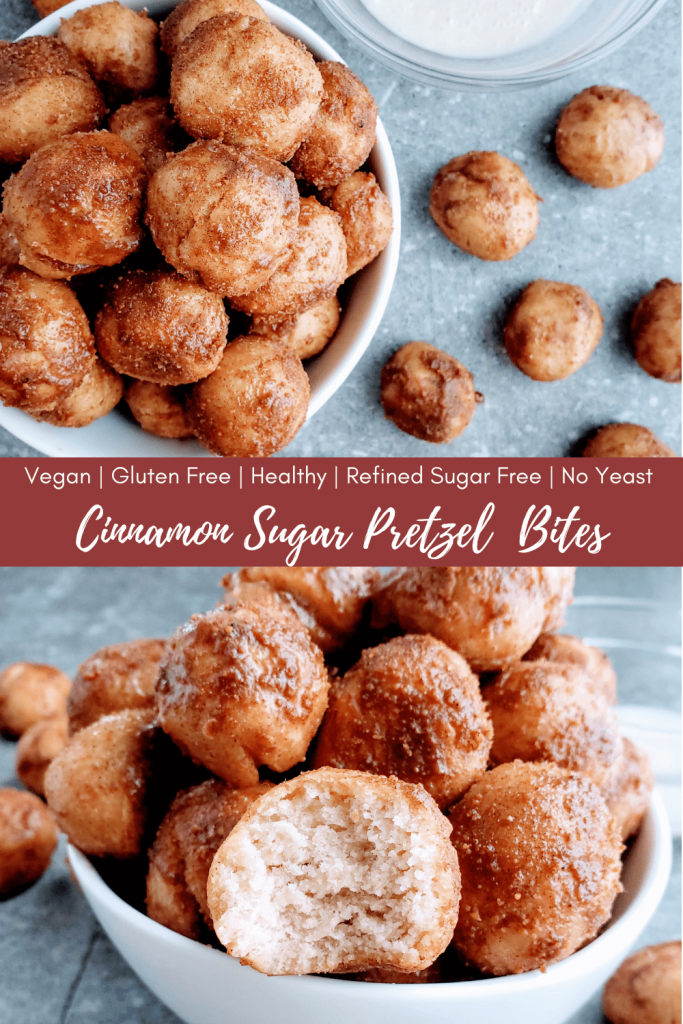 Cinnamon sugar pretzel bites are so soft and delicious, and actually healthy! They're also gluten free, vegan, refined sugar free and require no yeast. Making these baked pretzel bites a super easy recipe. Try these tender, addicting bites for yourself! #pretzelbites #noyeastpretzelbites #veganpretzelbites #veganrecipe #glutenfreerecipe #glutenfreepretzels