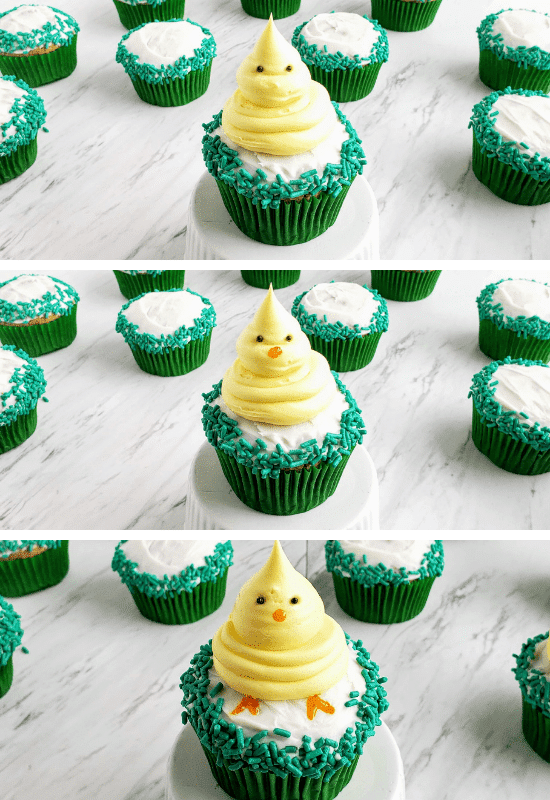 Decorating easter chicks on top of carrot cake cupcakes