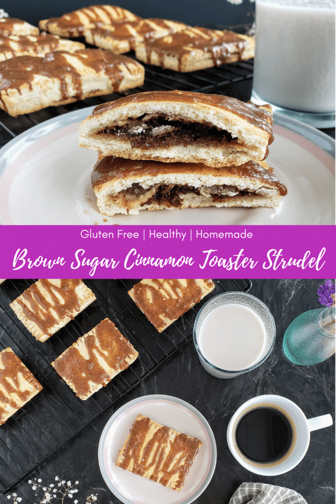 This homemade toaster strudel recipe is healthy, gluten free, and filled with the perfect gooey brown sugar cinnamon filling. Top with a brown sugar cinnamon icing for an easy on-the-go breakfast your whole family will love! #toasterstrudel #easybreakfast #homemadetoasterstrudel #glutenfreebreakfast #breakfastforkids #healthybreakfastforkids #quickbreakfast #makeaheadbreakfast