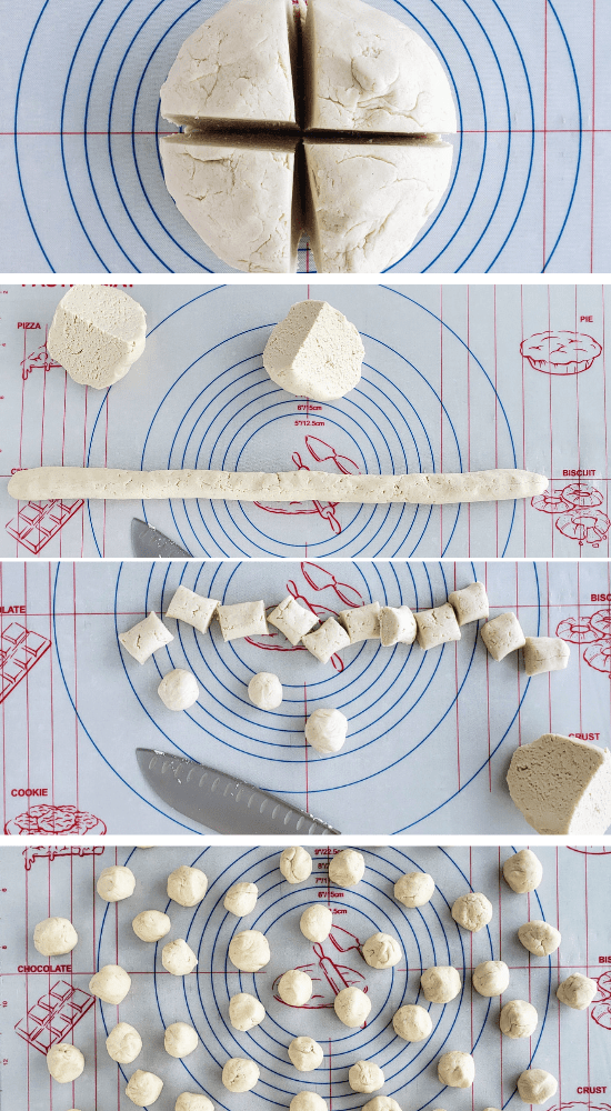 top: ball of pretzel dough; middle 1: dough rolled into a rope; middle 2: rope cut into bites; bottom: pretzel bite dough rolled into balls