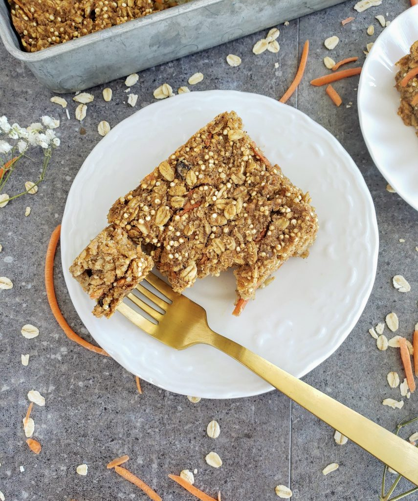 forkful of carrot cake baked oatmeal