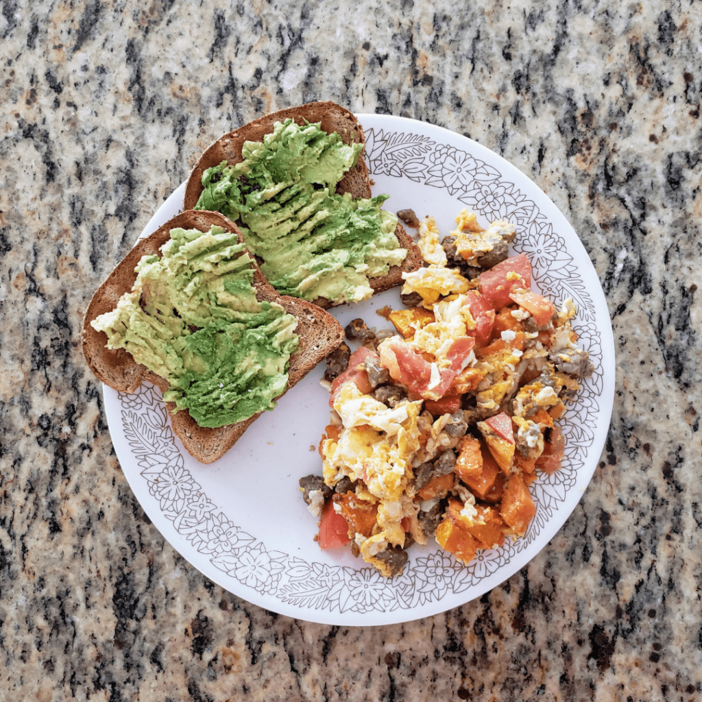 avocado toast with a breakfast sausage egg scramble