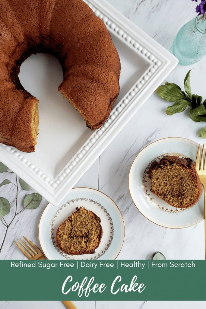 This healthy coffee cake recipe is so soft and tender, it practically melts in your mouth. Made from scratch, and dairy free, this coffee cake recipe is one you're going to want to take to every brunch or holiday gathering. Also perfect for Easter morning breakfast. #easter #breakfastrecipe #brunchrecipe #coffeecakebundt #bundtcake #healthycake #healthycoffeecake #easycoffeecakerecipe