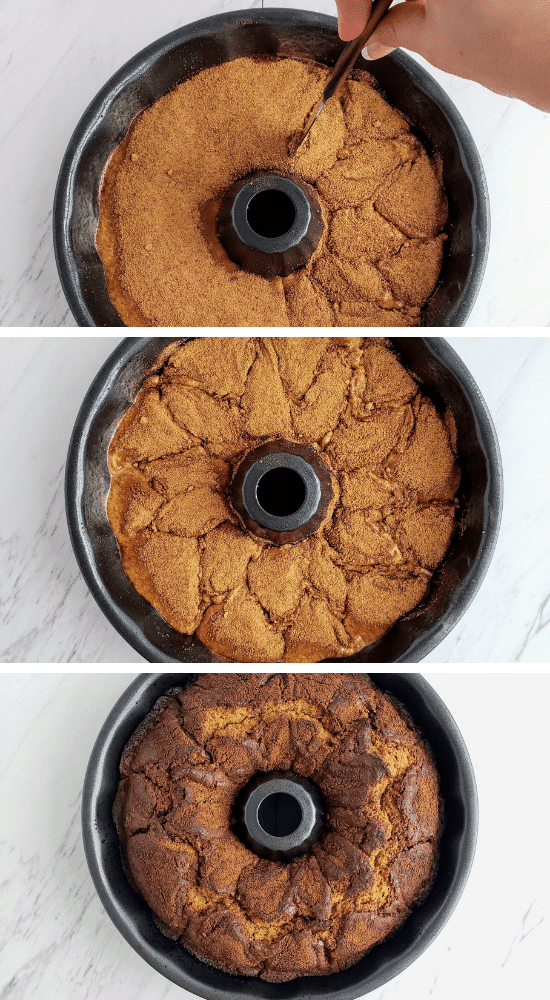 top: swirling cinnamon sugar into coffee cake. middle: swirled cinnamon sugar. bottom: baked healthy coffee cake