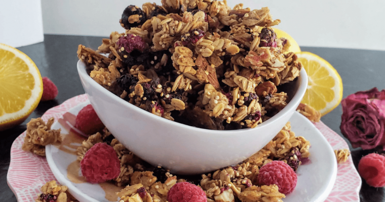 Lemon Raspberry Homemade Granola
