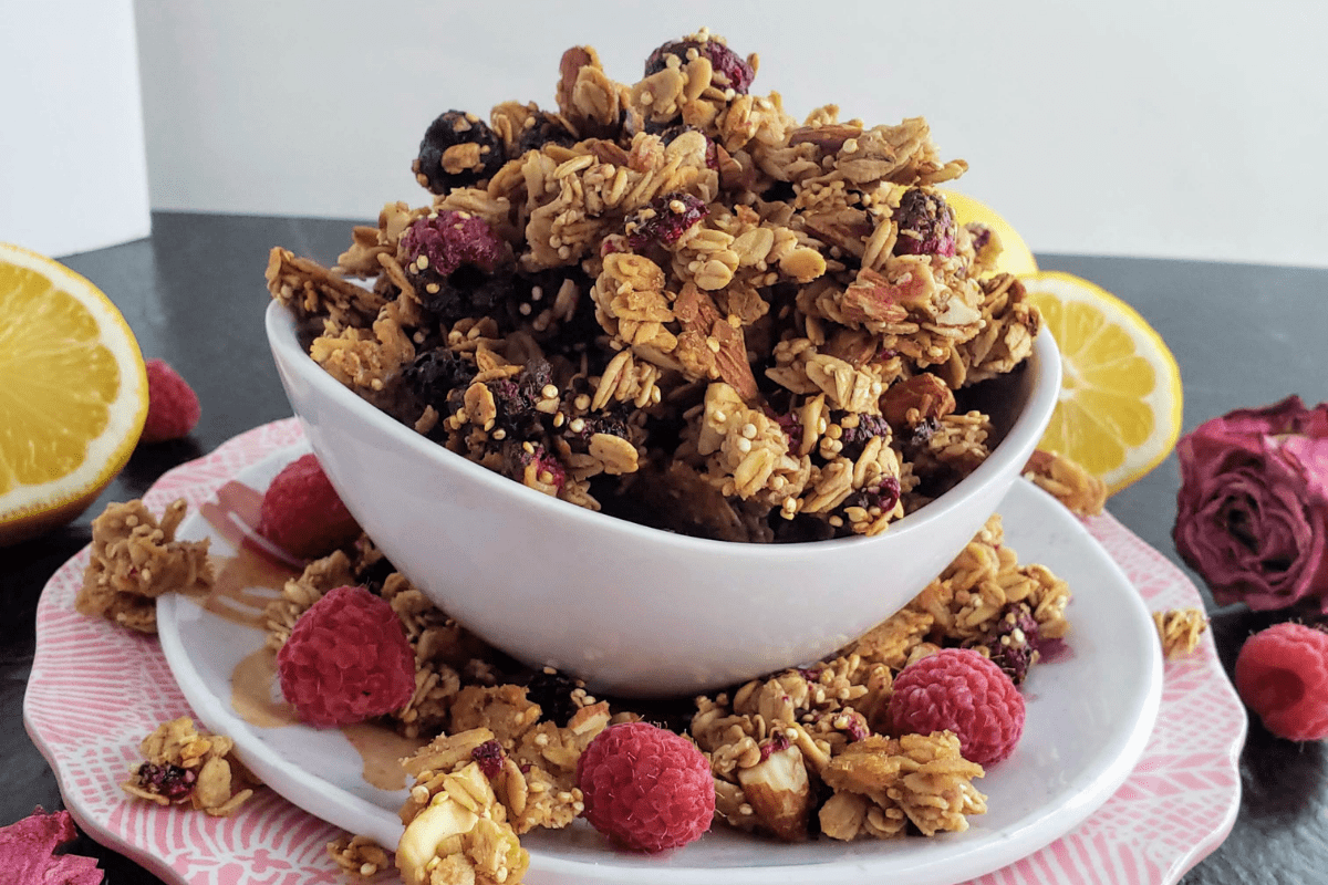 bowl of homemade granola sitting on two plates