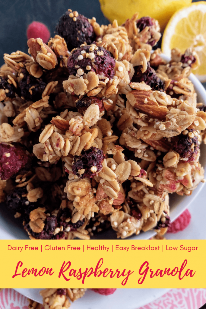 Homemade granola that's refined sugar free and bursting with fresh lemon and sweet raspberries will make this a gluten free and dairy free breakfast you won't forget. #homemadegranola #easyhomemadegranola #lowsugarbreakfast #dairyfreebreakfast #glutenfreebreakfast #breakfastonthego #easybreakfastrecipe