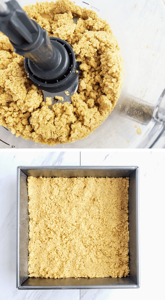 crumbled cookies in a food processor. bottom: crumbled cookies pressed in a pan
