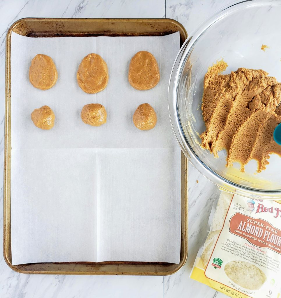 How to make peanut butter eggs: batter pressed on a tray into egg shapes