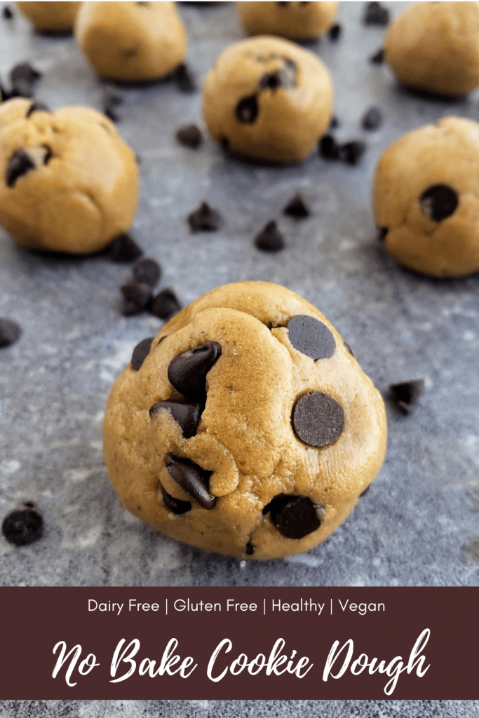 This super simple, healthy and easy no bake cookie dough recipe tastes just like raw peanut butter cookie dough, but contains no eggs. Make this gluten free, vegan and healthy snack in just 5 minutes! #proteinbites #nobakecookiedough #rawcookiedough #healthysnack #proteinballs #energybites #energyballs #peanutbuttercookies