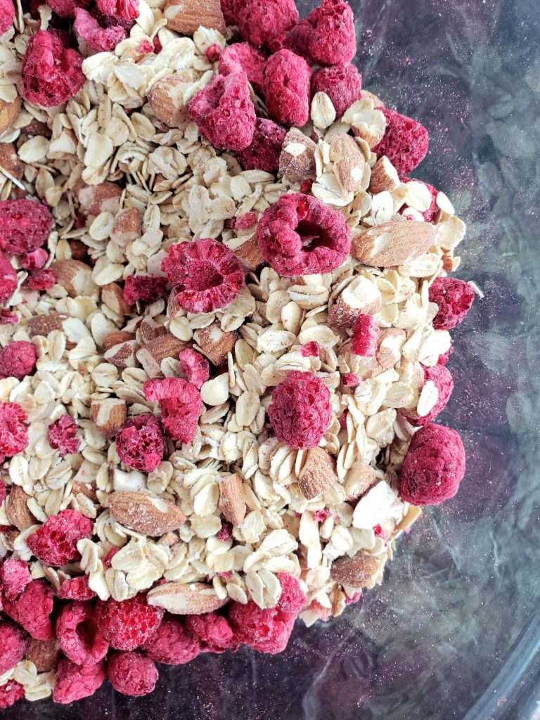 bowl of dry oats and freeze dried raspberries