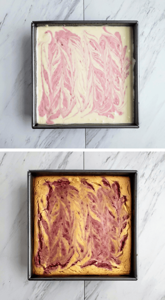 top: unbaked lemon raspberry cheesecake. bottom: baked lemon raspberry cheesecake