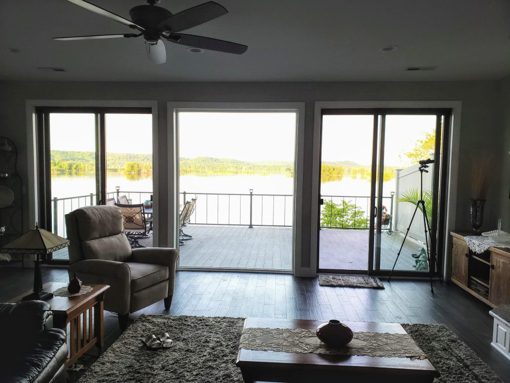 living room looking out over the water