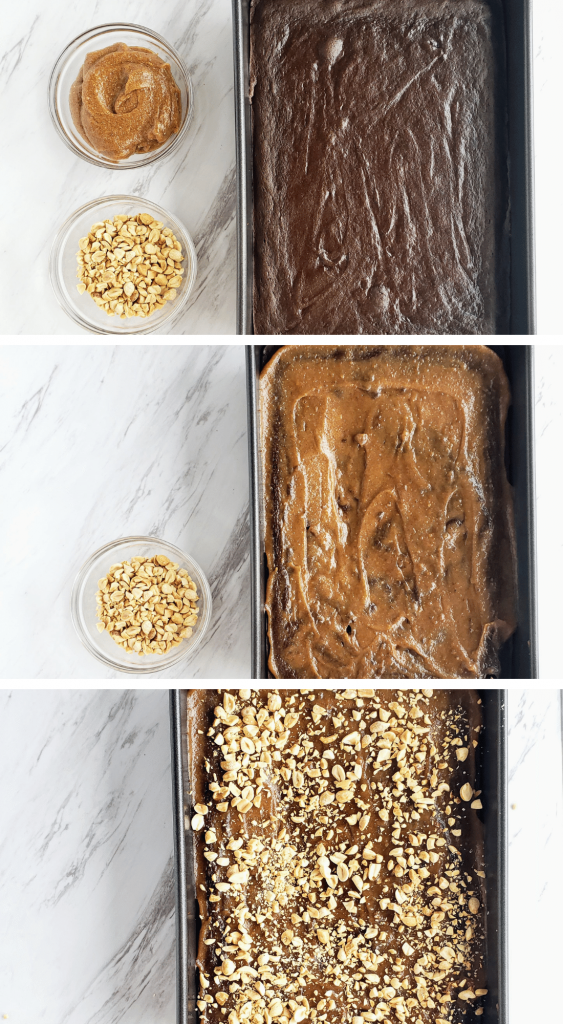 how to assemble a Snickers cake. Top: baked chocolate cake with two bowls of caramel sauce and peanuts next to it. Middle: caramel sauce spread over cake, peanuts in bowl. Bottom: peanuts sprinkled over cake