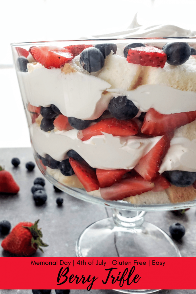 This super easy berry trifle is perfect for Memorial Day or Fourth of July. In just 10 minutes, you can have a delicious fresh berry trifle ready to serve. #picnic #memorialdaydessert #fourthofjulydessert #patrioticdessert #freshberrydessert #glutenfreedessert