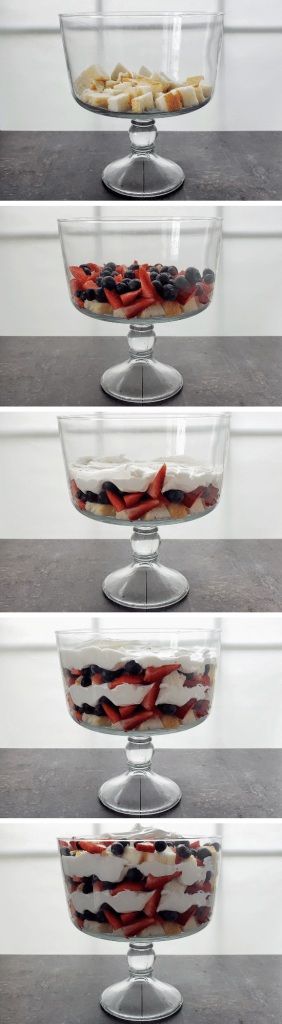 showing the assembly of building a berry trifle