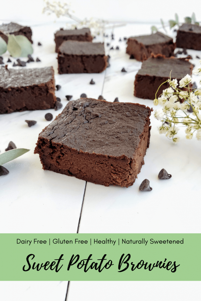 This healthy sweet potato brownies recipe is super easy to make, and only requires a microwave and food processor or blender. Enjoy these dairy free, gluten free and healthy sweet potato brownies that are naturally sweetened. So thick and fudgy for the perfect chocolate dessert. #sweetpotatobrownies #brownies #healthybrownies #chocolate #chocolatedessert #easydessertrecipe #glutenfreedessert #glutenfreebrownies #dairyfreebrownies